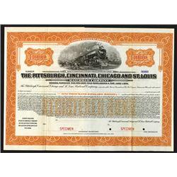 Pittsburgh, Cincinnati, Chicago and St. Louis Railroad Co., 1920 Specimen Bond