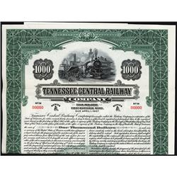 Tennessee Central Railway Co. Specimen Bond.
