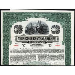 Tennessee Central Railway Co. Specimen Bond.