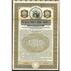 Galveston- Houston Electric Railway Co. 1909, Specimen Bond.