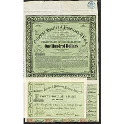 Galveston, Houston and Henderson R.R. Co., Issued Stock and Bond Certificate.
