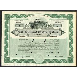 Gulf, Texas and Western Railway Co., ca.1908 Specimen Stock Certificate.