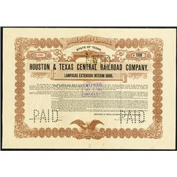 "Houston & Texas Central Railroad Co., 1903 ""Lampasas Extension Interim Bond""."