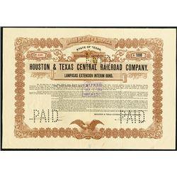 "Houston & Texas Central Railroad Co., 1903 ""Lampasas Extension Interim Bond""."