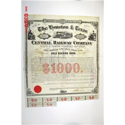 Houston and Texas Central Railway Company, Waco and North Western Division, 1873, Issued Bond.