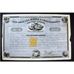 New Orleans, Mobil & Chattanooga Rail Road Co. 1870 With Imprinted Revenue Stamp.
