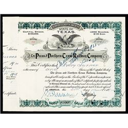 Pecos and Northern Texas Railway Company Stock Certificate.