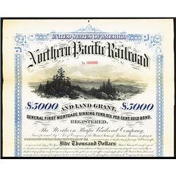 Northern Pacific Railroad and Land Grant, 1881 Specimen Bond.