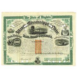 Atlantic, Mississippi, & Ohio Rail Road Co., 1871 Cancelled Bond  Signed by William Mahone, Ex-Confe