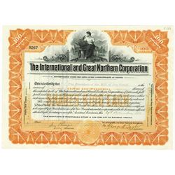 International and Great Northern Corp., 1911 Issued Stock Certificate Issued to Jay Gould Estate.