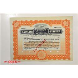 Maryland Virginia Railway Co., ca.1920-1930 Specimen Stock
