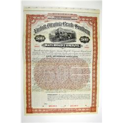 Norfolk, Virginia Beach and Southern Railroad Co. 1896 Specimen Bond.