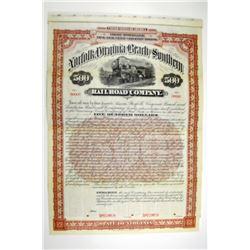 Norfolk, Virginia Beach and Southern Railroad Co. 1896 Specimen Bond.