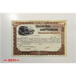 Green Bay and Western Railroad Co., ca.1900-1910 Specimen Stock
