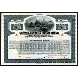 St. Paul Eastern Grand Trunk Railway Co., 1913 Specimen Bond
