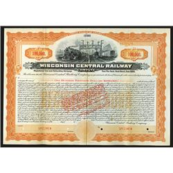 Wisconsin Central Railway Co. 1909 Specimen Bond