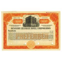 Benjamin Franklin Hotel Corp., ca.1920-30's Specimen Stock Certificate