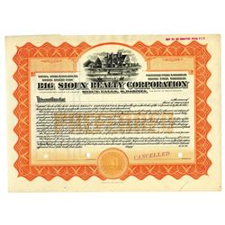 Big Sioux Realty Corp., ca.1900-1920 Issued Stock Certificate