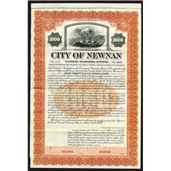 City of Newnan, 1909 Specimen Bond