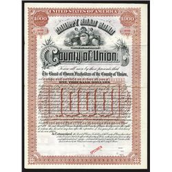 County of Union, 1890 Specimen Bond
