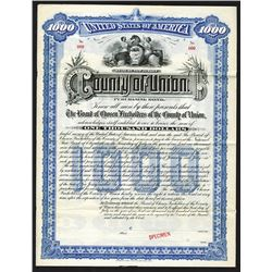 County of Union, 1897 Specimen Bond