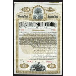 State of South Carolina, 1912 Specimen Bond
