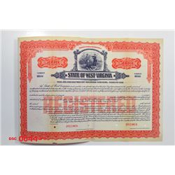 State of West Virginia, 1923 Specimen Bond