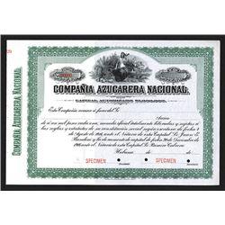 Compania Azucarera Nacional Specimen Share Certificate. CA 1920s.