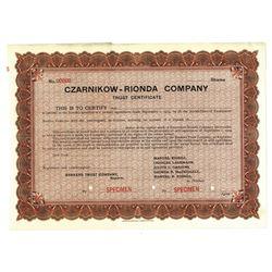 Czarnikow-Rionda Co., ca.1909 Specimen Trust Stock Certificate