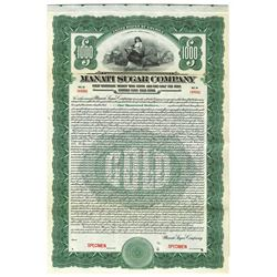 Manati Sugar Co., 1922 Specimen Bond.