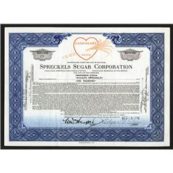 Spreckels Sugar Corp., 1929 Issued Stock