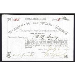 Aspen and Glenwood Springs Telegraph and Telephone Co. Issued Stock.