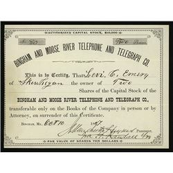 Bingham and Moose River Telephone and Telegraph Co., 1887 Issued Stock