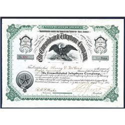 Consolidated Telephone Co., 1885 Issued Stock.