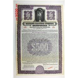Western Electric Co. Inc., 1924 Specimen Bond