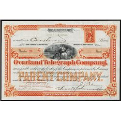 Overland Telegraph Co., 1899 Issued Stock Certificate.