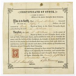 Foster Turnpike Road, 1869 Issued Stock Certificate
