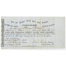 Lake and Trumball County Plank Road Co., 1854 Issued Stock Certificate