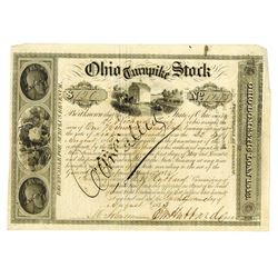 Ohio Turnpike Stock, 1843 Issued Stock Certificate