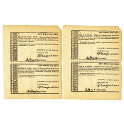 Centre Turnpike Road, 1821 Stock Certificate Quartet.