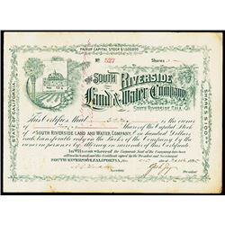 South Riverside Land and Water Co., 1895 Issued Stock