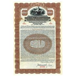 Electric Power Corp., 1928 Specimen Bond