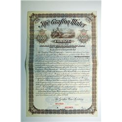 Grafton Water Co. 1889 Specimen Bond..