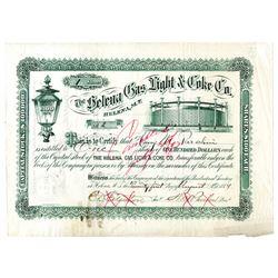Helena Gas Light & Coke Co., 1884 Issued Stock Certificate