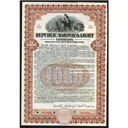 Republic Railways & Light Co., 1912 Specimen Bond