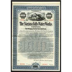 Niagara Falls Water Works Co., 1897 Specimen Bond