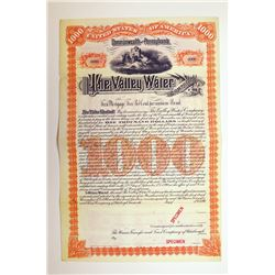 Valley Water Co. 1890 Specimen Bond..