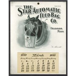 T.A. Bradley Calendar. Star Automatic Feed Bag Co. 1893 partial year pad.