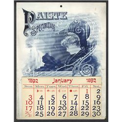 T.A. Bradley Calendar. H. T. Paiste Electrical Specialties. 1892 full year pad.
