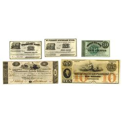 United States Obsolete Currency, ca. 1800s, Quintet of Notes
